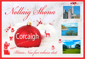 Nollaig Shona - Midleton Image With feathers - Gaeilge